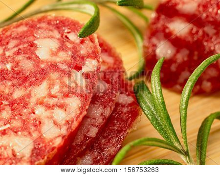 Macro View Of The Pieces Of Saveloy