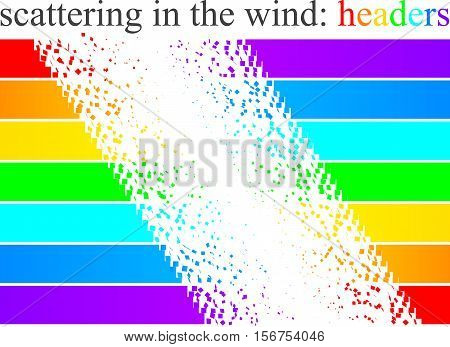 scattering headers in seven different length and color.