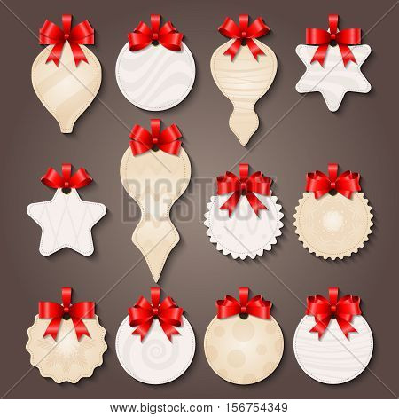 Christmas decorations paper labels of various shape with pale patterns and red bows isolated vector illustration