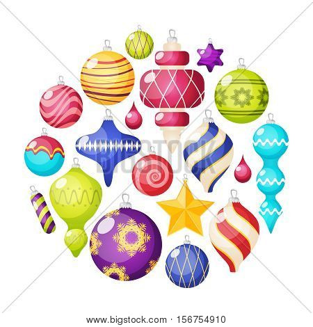 Christmas decorations icons set in circle shape with embellished balls stars and icicles isolated vector llustration