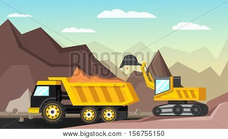 Orthogonal composition with mining industry and quarrying vehicles in open pit scenery with sky and mountains vector illustration