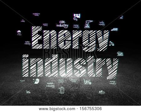Industry concept: Glowing text Energy Industry,  Hand Drawn Industry Icons in grunge dark room with Dirty Floor, black background