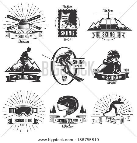 Set of nine isolated monochrome vintage nordic skiing labels with skier and equipment symbols and captions vector illustration
