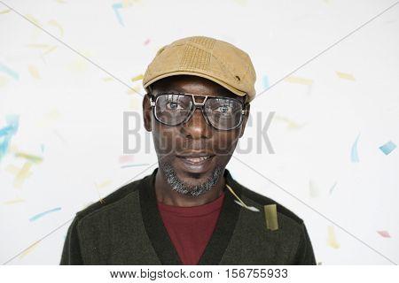 African Man Smiling Sneer Portrait Concept