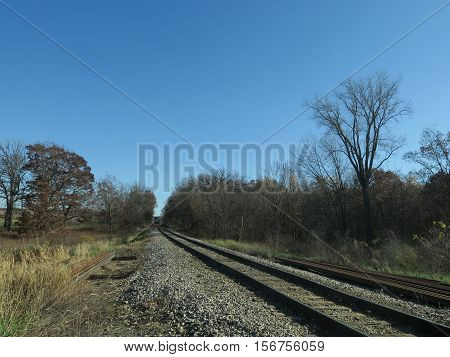 Railroad Tracks in fall  bordering Stoney Ridge in Kettle Moraine Southern Unit