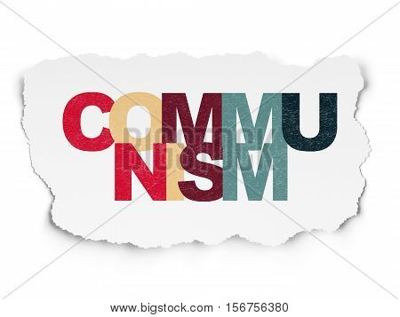 Politics concept: Painted multicolor text Communism on Torn Paper background