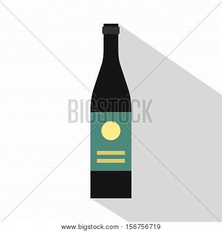 Wine bottle icon. Flat illustration of wine bottle vector icon for web