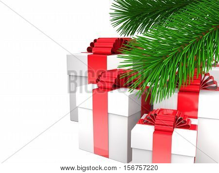 Boxes with ribbons and bows and green fir branches on white background (3d illustration).