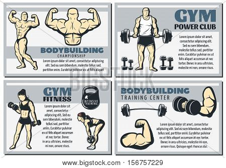 Four horizontal and isolated vintage body building banner set with gym power club and other headlines vector illustration