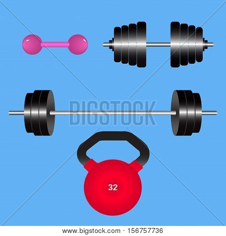 Gym weights isolated.Kettlebell dumbbell barbell disk. Vector illustration.