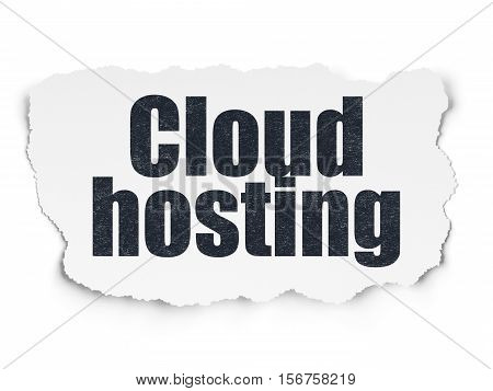 Cloud computing concept: Painted black text Cloud Hosting on Torn Paper background with Scheme Of Hand Drawn Cloud Technology Icons