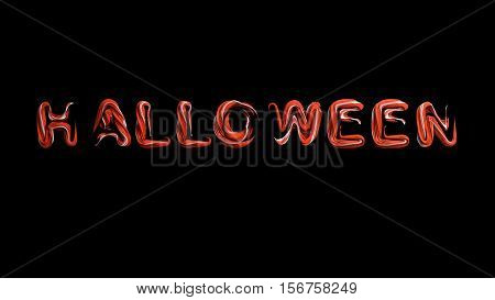 Hallowing night orange letters abstract material isolated on black 3d render
