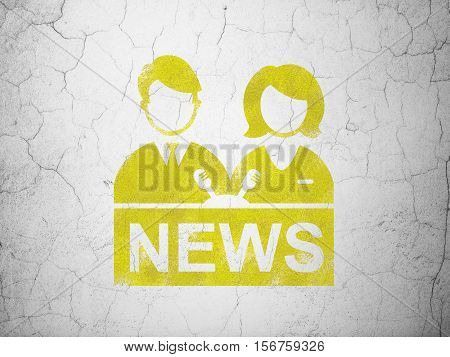 News concept: Yellow Anchorman on textured concrete wall background