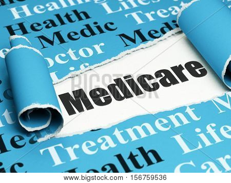 Health concept: black text Medicare under the curled piece of Blue torn paper with  Tag Cloud, 3D rendering