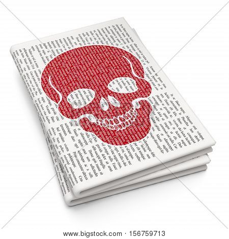 Healthcare concept: Pixelated red Scull icon on Newspaper background, 3D rendering