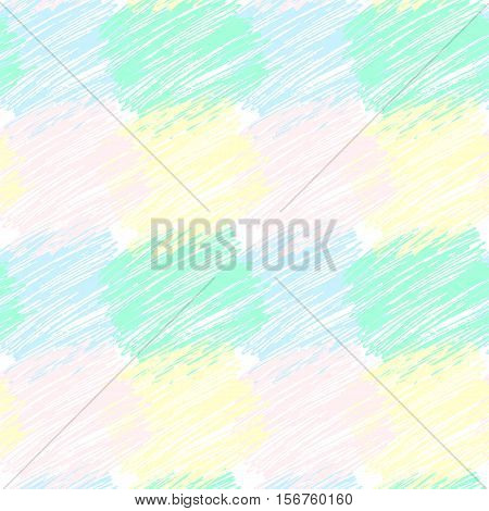 Seamless vector pattern with stroked squared patches. Crayon background. Vector hand drawn texture.
