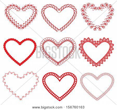 Set of vintage ornamental hearts shapes. Valentines Day or wedding card invitation design. Red color images isolated on white background