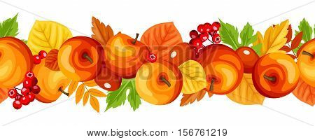 Vector horizontal seamless garland with autumn colorful apples, rowanberries and leaves.