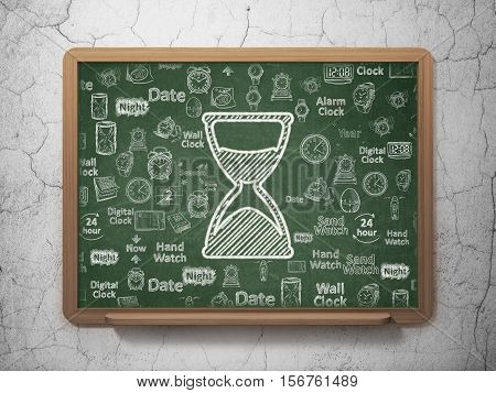 Time concept: Chalk White Hourglass icon on School board background with  Hand Drawing Time Icons, 3D Rendering