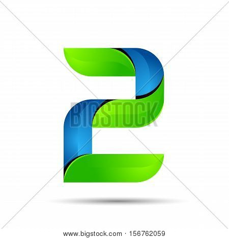 vector 3d Number 2 two logo with speed green leaves. Ecology design for banner, presentation, web page, card, labels or posters.