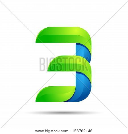 vector 3d Number three 3 logo with speed green leaves. Ecology design for banner, presentation, web page, card, labels or posters.