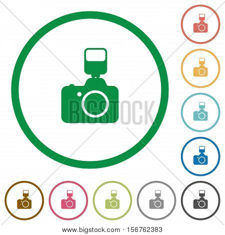 Camera with flash flat color icons in round outlines