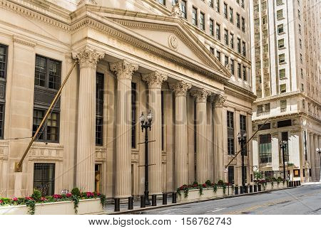 Chicago, USA - May 30, 2016: Federal Reserve Bank building on La Salle street with columns