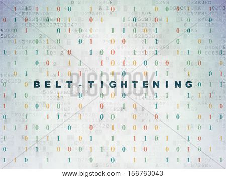 Finance concept: Painted blue text Belt-tightening on Digital Data Paper background with Binary Code