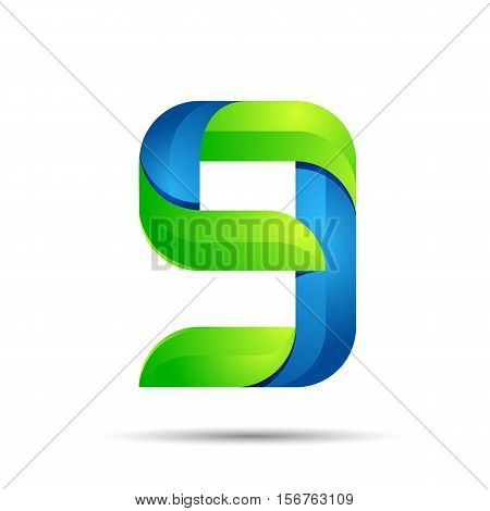 vector 3d Number nine 9 logo with speed green leaves. Ecology design for banner, presentation, web page, card, labels or posters.