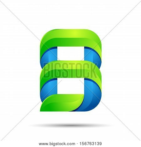 vector 3d Number eight 8 logo with speed green leaves. Ecology design for banner, presentation, web page, card, labels or posters.
