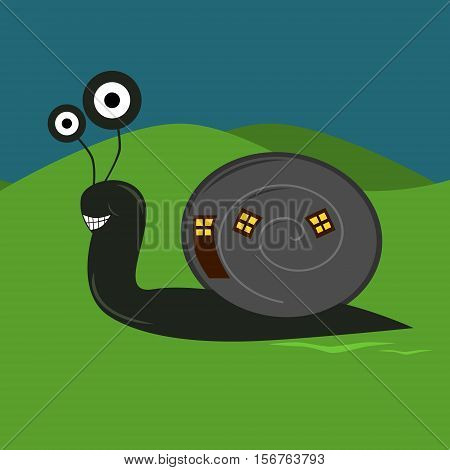 Funny cartoon snail with house at night. Simple comic, modern, childish, flat design. The snail has a big smile.