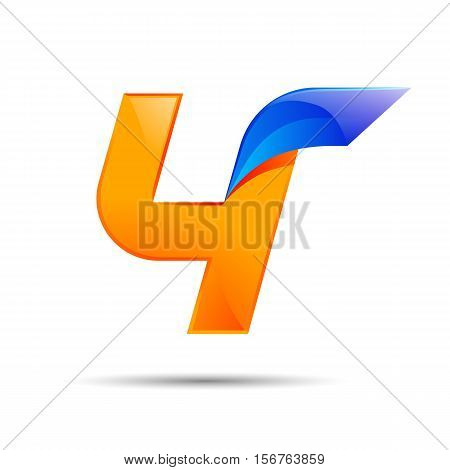 Number four 4 logo orange and blue color with fast speed lines. Vector design for banner, presentation, web page, card, labels or posters.