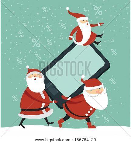 Three funny Santas holding huge brand new smartphone