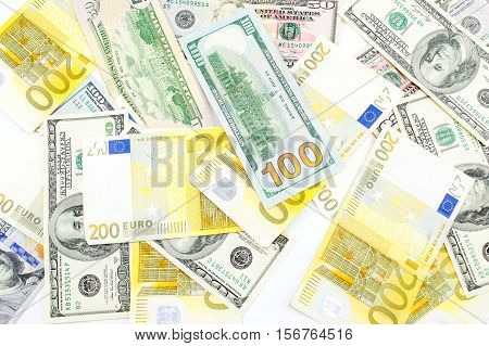Bunch Of Dollar And Euro Bills