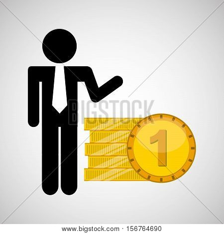 silhouette man manager economy finance currency pile vector illustration