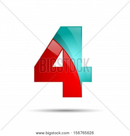 Number four 4 colorful 3d volume icon. Vector design for banner, presentation, web page, card, labels or posters.