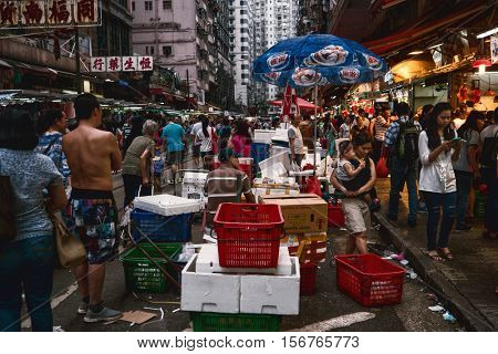 HONG KONG - October 2016: Evening view of crowded wet market.