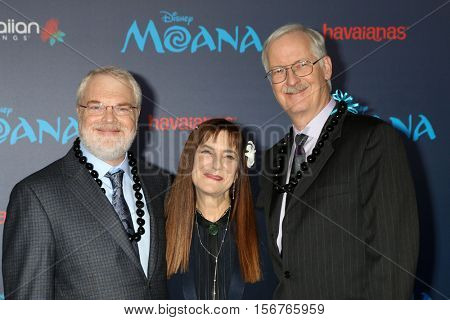 LOS ANGELES - NOV 14:  Ron Clements, Osnat Shurer, John Musker at the