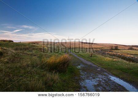On Blorenge Hill last light of day and radio mast. Abergavenny Wales United Kingdom.