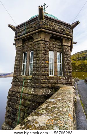 The Craig Goch Dam intake tower part of the Elan Valley Reservoirs. Powys Wales United Kingdom.