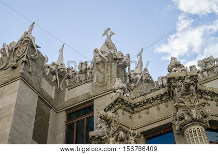 Kiev, Ukraine - May 25, 2013: House with Chimaeras or Horodecki House Art Nouveau building in downtown with Gargoyles
