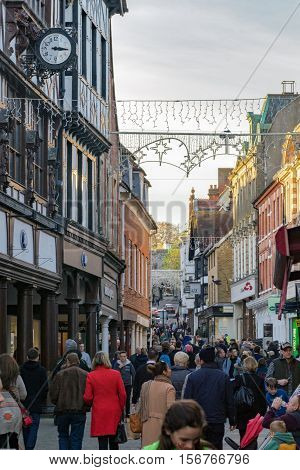 Winchester, UK. November 13th 2016. Tourists and shoppers walking through the central streets in Winchester.