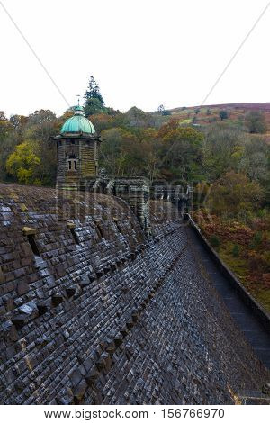 Top Of The Penygarreg Dam With Tower, Fall Autumn Colors.