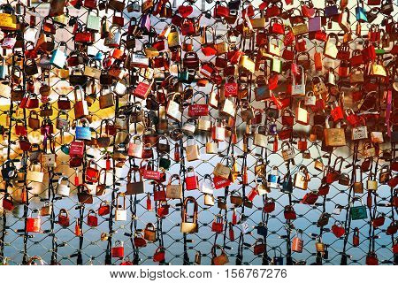 SALBURG AUSTRIA - DECEMBER 25: Close-up view to padlocks on the Love bridge over Salzach river on December 25 2015 in Salzburg Austria. Christmas in Europe.