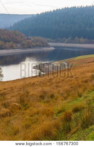 The Penygarreg reservoir Reservoir part of Elan Valley Reservoirs showing low water levels in autumn fall. Powys Wales United Kingdom.