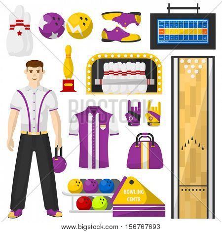 Bowling player with bowling equipment icons set. Vector Illustration collection. Isolated on white.