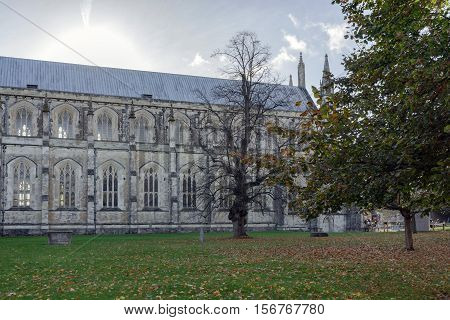The northern side of the historic Winchester Cathedral