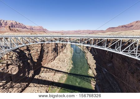 Historic Navajo Bridge over the Colorado River at Glen Canyon National Recreation Area in Northern Arizona.