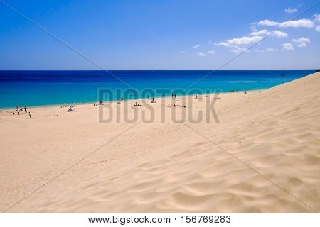 View from above on the beach Playa de Morro Jable on the Canay Island Fuerteventura Spain.