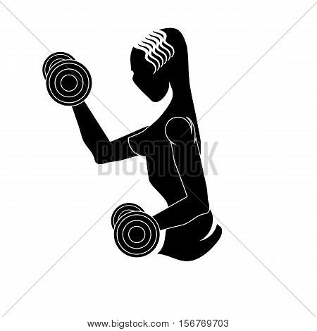 Sport Club Gym Logo Design Isolated on White Background. Female Silhouette with Dumbbels. Fitness Emblem. Strenght Training. Bodybuilder Holding Weight.